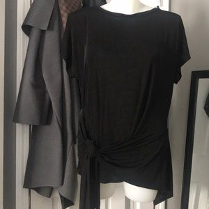 Forever 21+ Black Sheeny Knit Tie front top 3X